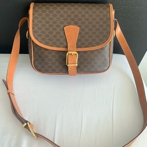 Vintage Celine brown macadam shoulder bag